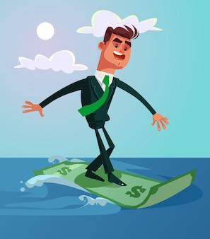 Glücklicher lächelnder erfolgreicher surfer-büroangestellter geschäftsmann reiten dollar-banknote, flache karikaturillustration