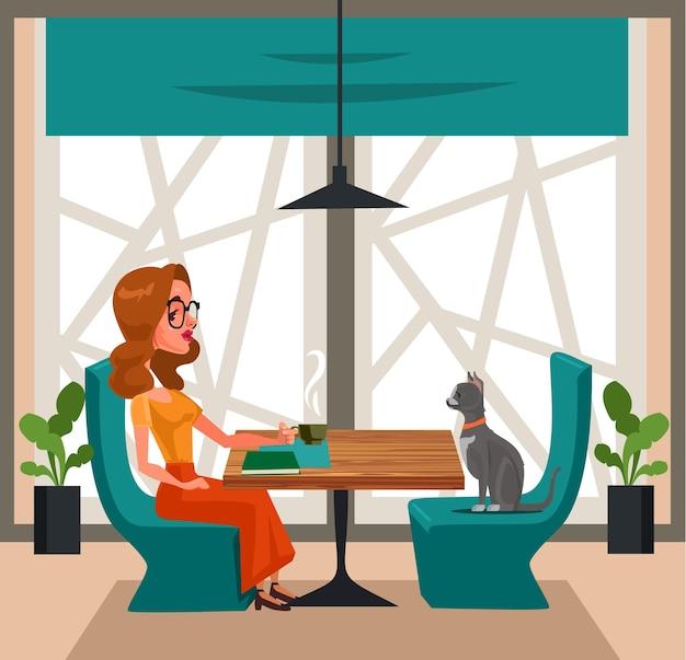 Glücklicher lächelnder freiheitsfrauencharakter, der kaffee mit katze trinkt