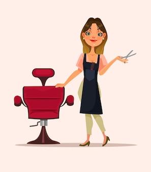 Glücklicher lächelnder friseurfrauencharakter, der auf kunden wartet