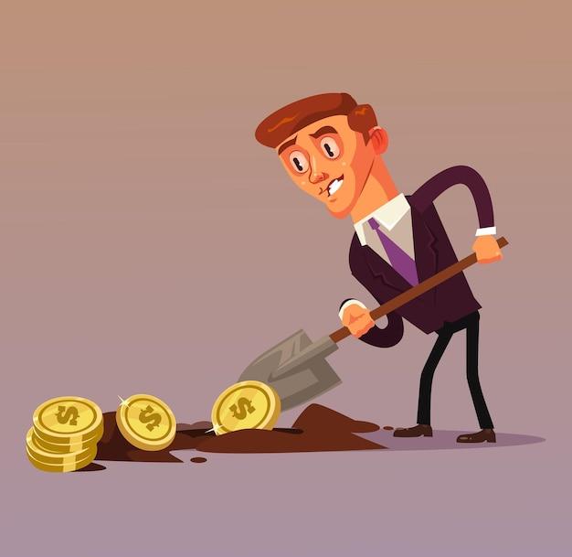 Glücklicher lächelnder geschäftsmann-büroangestellter-unternehmercharakter, der geldgewinn macht