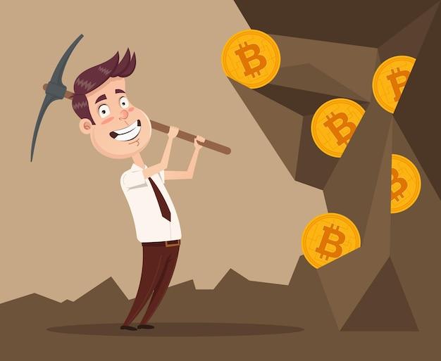 Glücklicher lächelnder geschäftsmanncharakter, der bitcoins abbaut