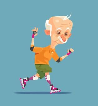 Glücklicher lächelnder großvatercharakter des alten mannes auf rollschuhlaufen
