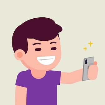 Glücklicher lächelnder hübscher netter junger mann, der selfie mit smartphone, flache illustration des vektors nimmt.