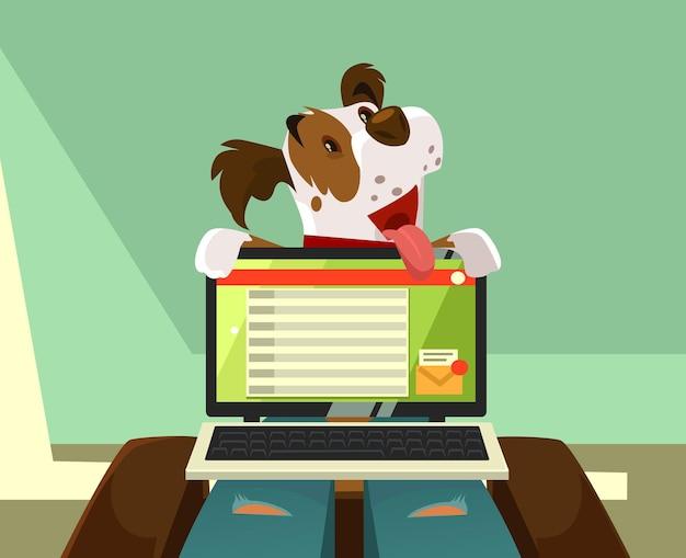 Glücklicher lächelnder hundecharakter, der versucht, aufmerksamkeit des besitzers auf sich selbst zu schenken