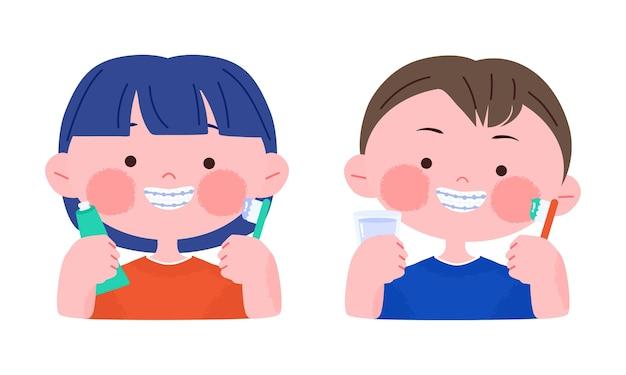 Glücklicher lächelnder kleiner junge und mädchen mit zahnspangen, die zahnbürste halten. hand gezeichnete niedliche karikaturcharakterillustration