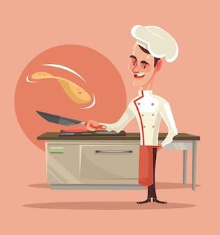Glücklicher lächelnder kochcharakter, der pfannkuchen kocht und sie in die luft schiebt.