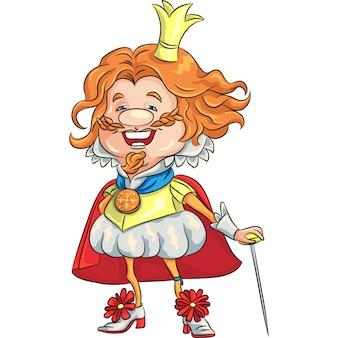 Glücklicher lächelnder könig der märchenkarikatur mit einer goldenen krone