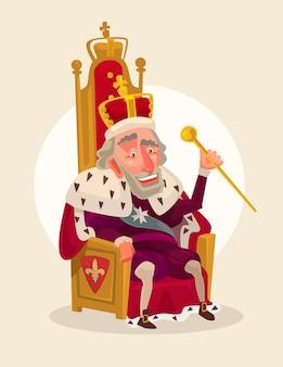 Glücklicher lächelnder königmanncharakter sitzt auf der thronkarikaturillustration