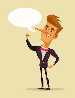Glücklicher lächelnder lügner büroangestellter geschäftsmann, der lüge erzählt.