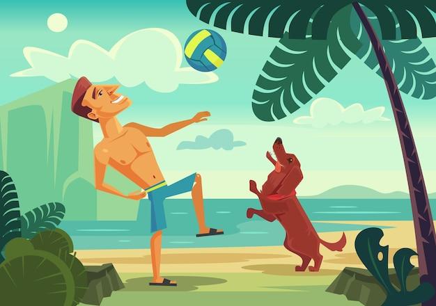 Glücklicher lächelnder manncharakter, der ball mit seinem fröhlichen hund am strand spielt