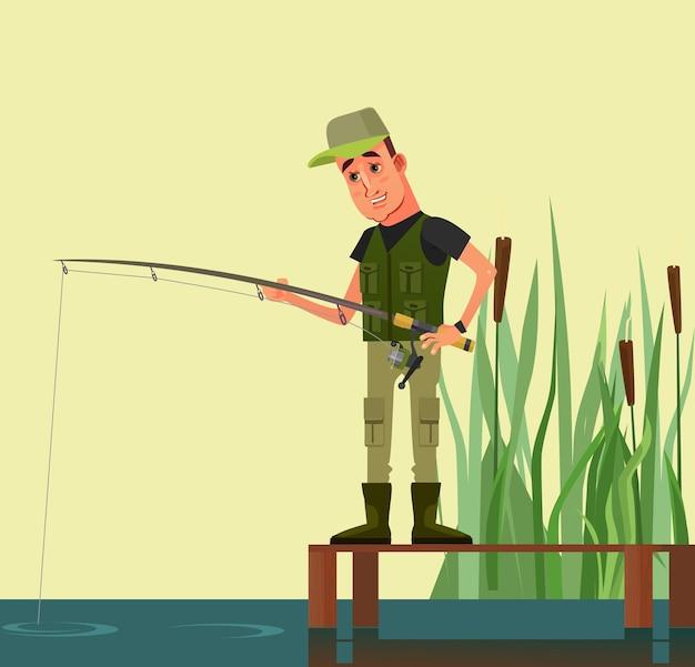 Glücklicher lächelnder manncharakter, der fischt. flache karikaturillustration des vektors