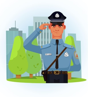 Glücklicher lächelnder polizistcharakter, der mit seiner hand grüßt