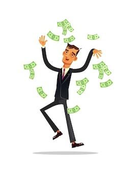 Glücklicher lächelnder reicher erfolgreicher geschäftsmann-büroangestellter-gewinner-unternehmercharakter, der auf dem geldregen steht und banknote in die luft wirft. finanzielles glück erfolg vermögen.