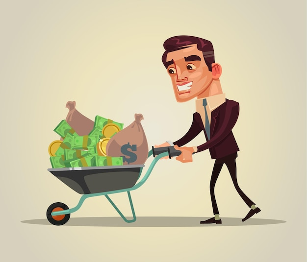 Glücklicher lächelnder reicher geschäftsmanncharakter halten schubkarre voll des geldes flache karikaturillustration