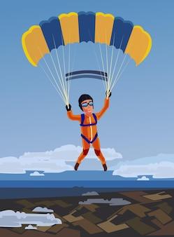 Glücklicher lächelnder sportler des himmelstauchens springen und fliegen mit offenem fallschirm