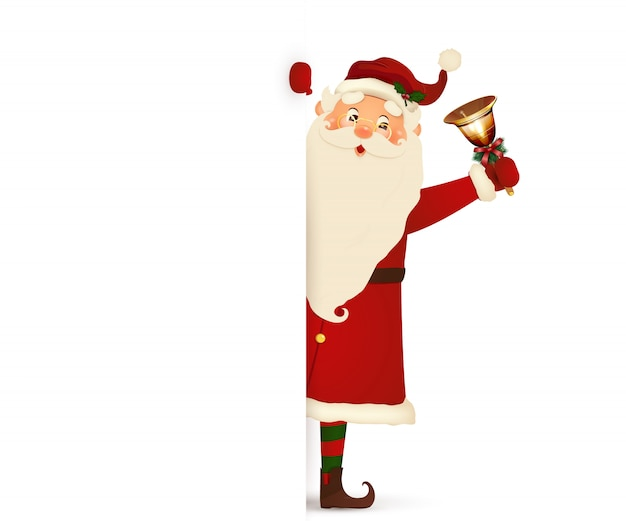 Glücklicher lächelnder weihnachtsmann, der hinter mit der klingelglocke ein leeres zeichen steht, das auf großem leerem schild zeigt. karikatur-weihnachtsmanncharakter mit weißem kopienraum.