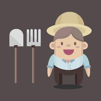 Glücklicher landwirtvektor