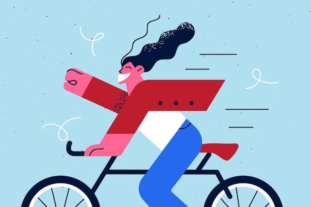 Glücklicher lebensstil und outdoor-aktivitäten illustration