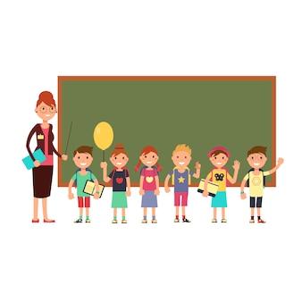 Glücklicher lehrer mit kindern in der schule. unterrichtende kinder vektor hintergrund