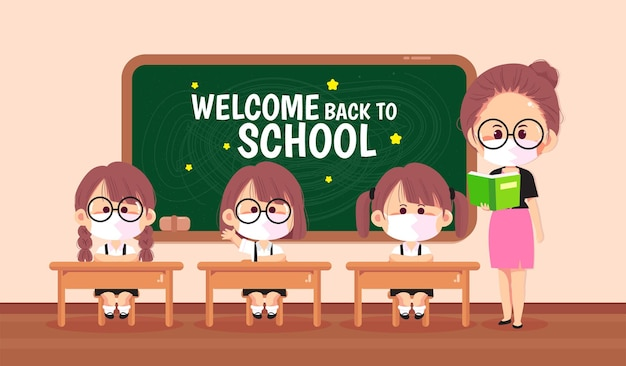 Glücklicher lehrer und kinder in der karikaturkunstillustration des klassenzimmers