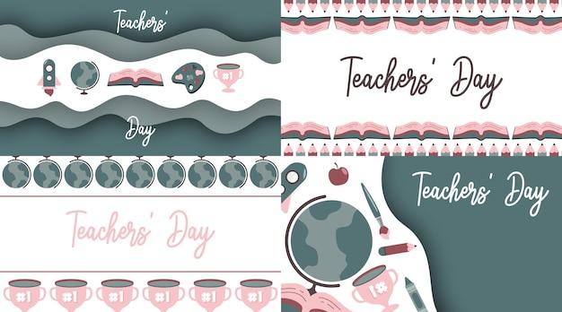 Glücklicher lehrertag-illustrationsvektor mit flacher ikone der weichen farbe