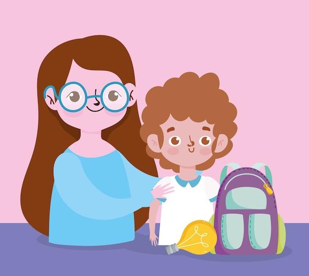 Glücklicher lehrertag, lehrer und schülerjunge rucksackkreativitätskarikatur