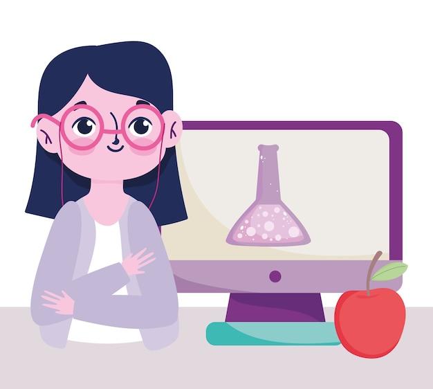 Glücklicher lehrertag, lehrercomputer-chemieflasche und apfel