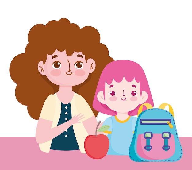 Glücklicher lehrertag, lehrerschüler mit rucksack und apfel