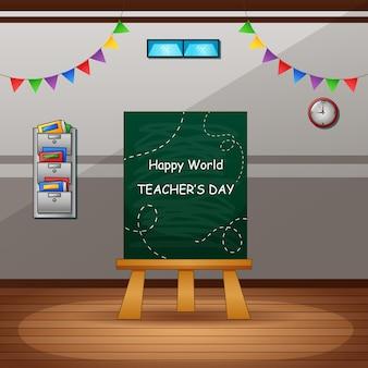 Glücklicher lehrertag mit grüner tafel auf klassenzimmer