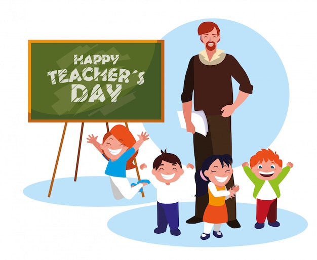 Glücklicher lehrertag mit lehrer und schülern