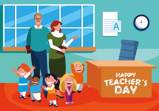 Glücklicher lehrertag mit lehrern und schülern in der schule