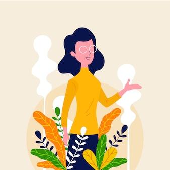 Glücklicher lehrertag mit naturblume
