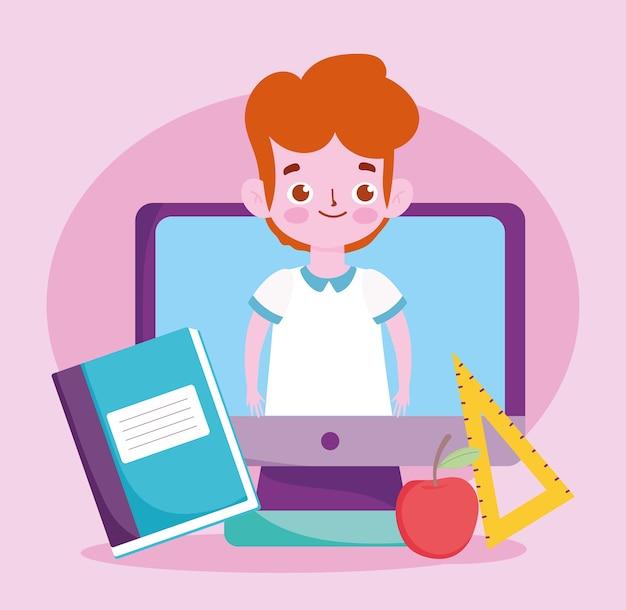 Glücklicher lehrertag, schülerjunge im bildschirmcomputer-apfelbuch und im lineal