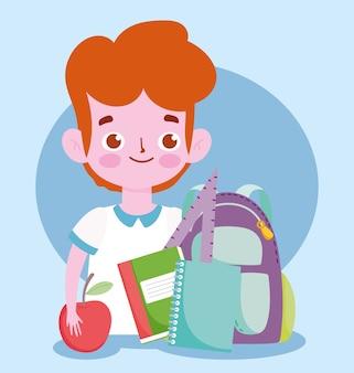 Glücklicher lehrertag, schülerjungenrucksackbücher und apfelkarikatur