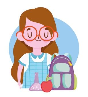 Glücklicher lehrertag, schülermädchenrucksackapfel und chemieflasche
