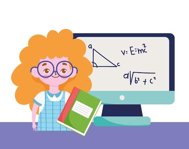 Glücklicher lehrertag, studentin buch buch computer lektion lernen