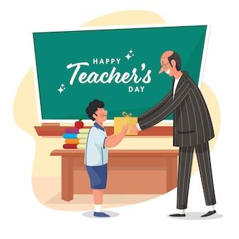 Glücklicher lehrertagstext auf grüner tafel mit dem schülerjungen, der seinem klassenlehrer geschenk gibt.