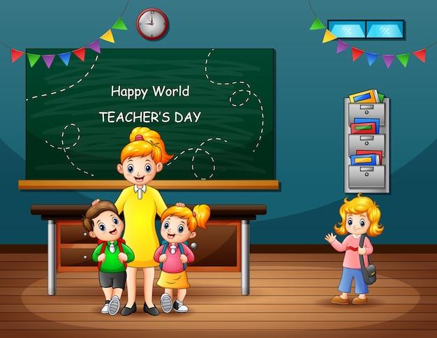 Glücklicher lehrertagstext mit schüler und lehrer