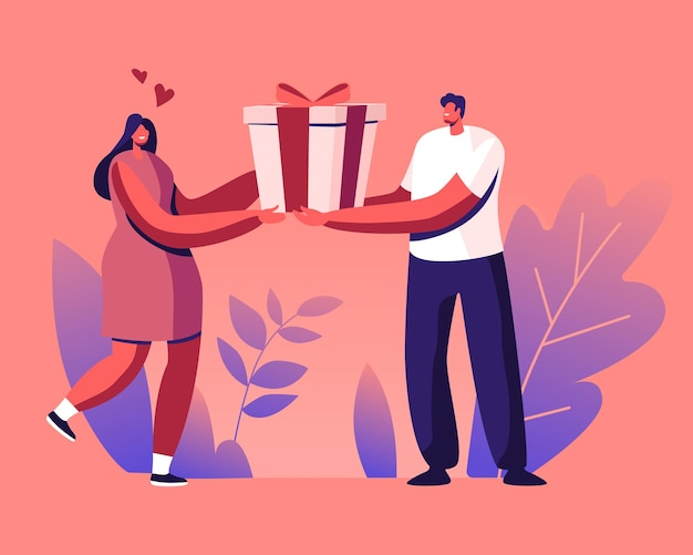 Glücklicher liebender mann bereiten geschenk zur frau vor. karikatur flache illustration