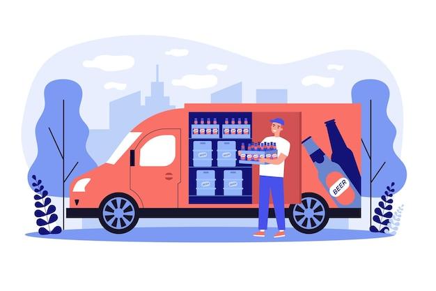 Glücklicher lieferbote, der bier liefert und kiste vom markenlastwagen mit getränken trägt