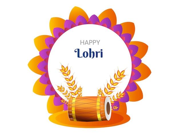 Glücklicher lohri-text auf mandala-rahmen mit weizenohren und dhol-instrument