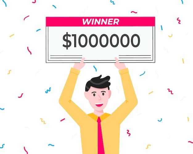 Glücklicher lottogewinner mit großem gehaltsscheck
