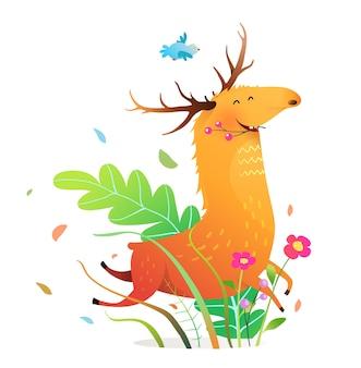 Glücklicher lustiger laufender elch oder hirsch in der natur