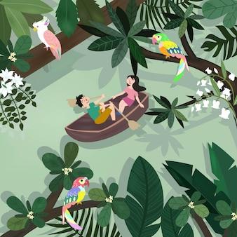 Glücklicher lustiger süßer liebhaber im botanischen tropischen wald.