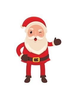 Glücklicher lustiger weihnachtsmann in der flachen vektorart