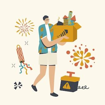 Glücklicher männlicher charakter, der feuerwerk im freien für weihnachtsfeiertagsfeier genießt