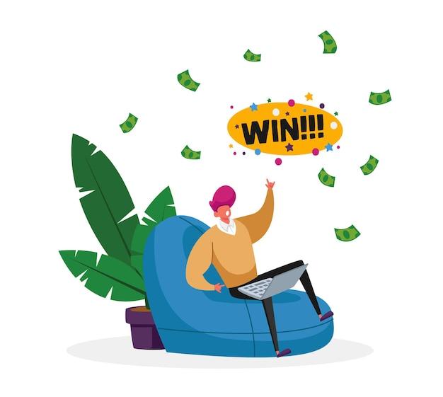 Glücklicher männlicher charakter, der mit dem bequemen sessel des laptops sitzt feiern sie den gewinn im online-kasino mit geld, das vom himmel fällt.