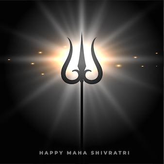 Glücklicher maha shivratri hintergrund mit glühender trishulwaffe