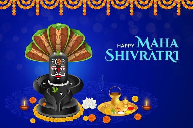 Glücklicher maha shivratri, shivlinga mit shesh naag