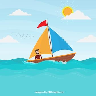 Glücklicher mann auf seinem boot hintergrund